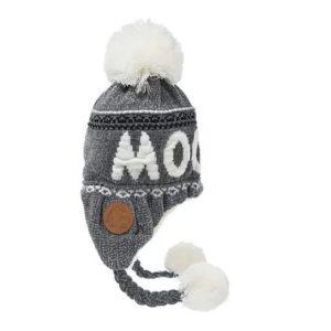 Шапка с помпоном женская Moomin серая